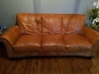 DFS three seater Raw leather TAN sofa