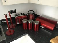 Morphy Richards Red Kettle, Toaster, Tea, Coffee, Sugar, Bread Bin, Kitchen Roll holder, Mug Holder,