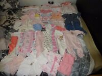 HUGE OVER 70 ITEMS Girl newborn/ 0-3 months clothes bundle + BABY WRAP/SLING 0-3YRS GREY