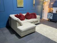 Gorgeous cream next left hand facing corner chaise sofa