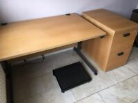 Desk and Filing Cabinet - oak finish - high quality - suitable for home office - made by Project