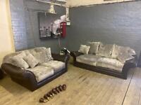 LEATHER SOFA WITH GREY FABRIC CUSHIONS IN EXCELLENT CONDITION