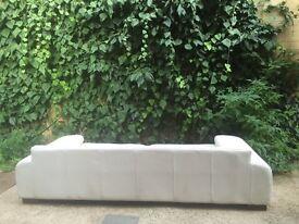 Super Trendy Italian Leather 4 Seater Sofa, Off White