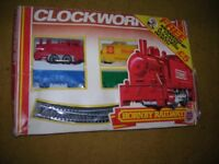 Hornby 00 clockwork train set in original box, vintage, working, complete with extra rails