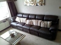 Brown leather 5 seat (configurable to 2, 3, 4 or 5 seat) recliner sofa and matching chair