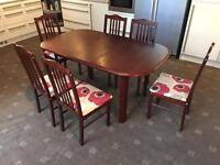Wooden Extendable Dining Table + 6 Chairs Good Condition