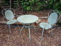 Garden Table and Wrought Iron Chairs Set