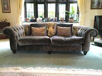 Velvet Chesterfield Sofa - Silver/Grey