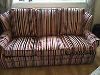 CAN DELIVER - MULTI COLOURED STRIPES 3 SEATER SOFA IN IMMACULATE CONDITION