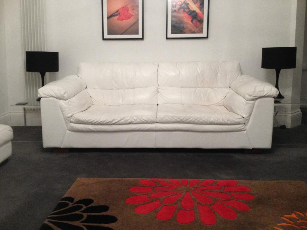 Two 3 seater white leather dfs purchase sale and exchange ads Dfs 4 seater leather sofa