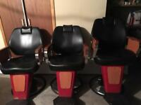 3x barber hairdresser chairs