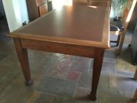 Solid oak table with leather inlay