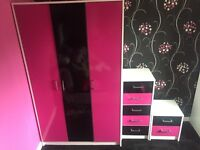 Wardrobe, drawers, bedside table