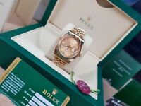 New boxed with papers Gold with Gold dial markers with fluted bezel Rolex Date Just watch with Auto