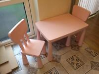 Children's pink table and two chairs