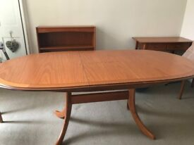 Table, chairs, bookcase, cabinet, unit with drawers