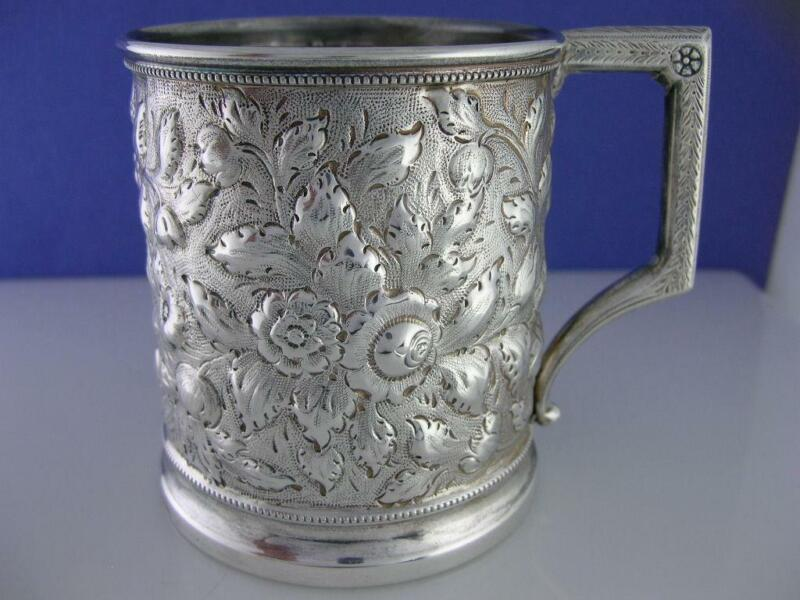 Early Coin Silver Cup / Mug w/ floral Repousse c1800