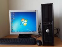 PC COMPUTER DELL CORE 2, 2.2GHZ 2GB RAM 160GB HDD KEYBOARD MOUSE MONITOR WINDOWS 10 BARGAIN WOKING