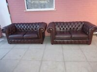 A Pair Tanny Brown Leather Chesterfield Two Seater Sofa Settees