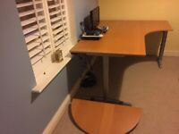 Ergonomic right hand beech desk