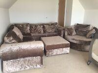 Large corner sofa plus swivel chair and footstool