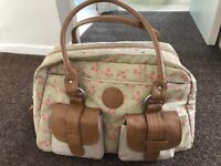 Excellent condition green shabby chic Lassig changing bag