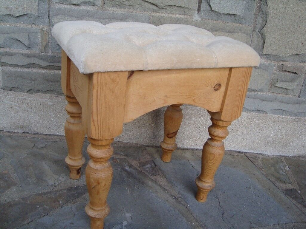 Solid Pine Dressing Table Stool 21inch Tall 17inch Wide In Very Good