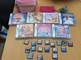 Pink dsi with games