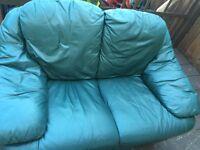 2 seater dark green leather sofa
