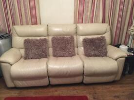 2 x LazyBoy 3 Seater Leather Recliner Sofas
