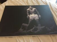 Canvas of Classius Clay stopping Sonny Listen- classic shot of Clay standing over Liston