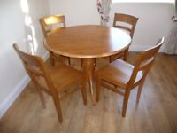 Wooden Dining Room table and 4 chairs - ideal for kitchen or smaller houses/flats