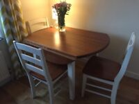 Collapsible oak dining table and 4 chairs