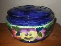 Vintage Maling Ware Flower Vase Pansy Design Made for Ringtons Ltd Newcastle on Tyne. 1940's?