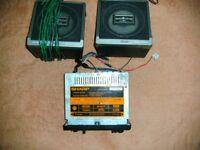 Vintage Sharp Radio Cassette player & speakers Car or Caravan