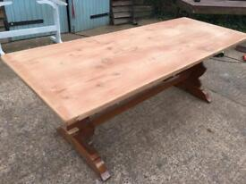 Large old pine farmhouse refectory table; seats 8-10. Ready to paint.
