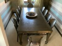 Solid Dark Oak Dining Table and 10 chairs - Bespoke handmade furniture - Immaculate
