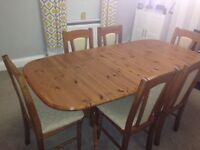 DURHAM PINE DINING TABLE AND 6 CHAIRS