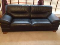2 Black Leather Sofas