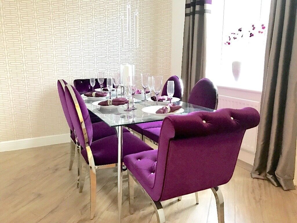 Gl Dining Table And 6 Purple Velvet Chairs Shoshone Immaculate In Derby Derbyshire Gumtree