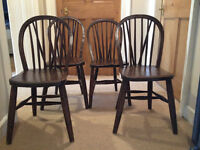 Set of 4 x Antique Windsor wooden (elm) kitchen chairs (similar to Ercol) £195 or nearest offer