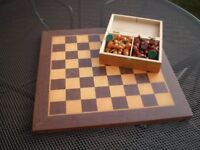 Wooden Chess Board with Boxed Pieces