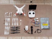 Dji Phantom quad copter drone with Gopro Gimbal LCD Screen 4 batteries
