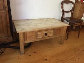 Shabby chic pine coffer table with drawer