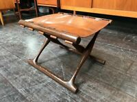 SAFE DELIVERY AVAILABLE - Wenge Wood Leather Folding Guldhoj Stool. Poul Hundevad. Danish Vintage