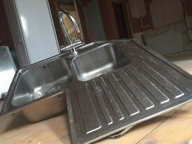 Kitchen sink, corner sink and taps