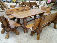 Oak solid wood garden table and benches set