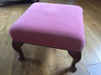 Stuart Jones Pink Upholstered Studded Queen Anne Legs Footstool Stool Pouffe
