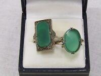 Art Deco green set oversized ring plus similar green stone ring set in 9ct gold band