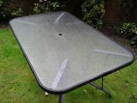 Nice black aluminum and glass garden table with hole for a parasol